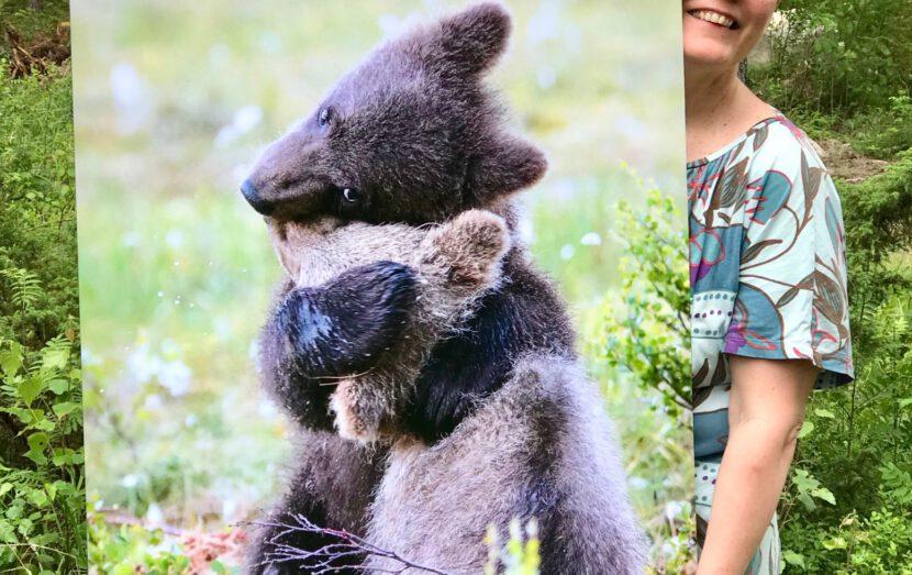 Karhunpentujen halaus voimavalokuva työnohjaaja Leena Aijasaho